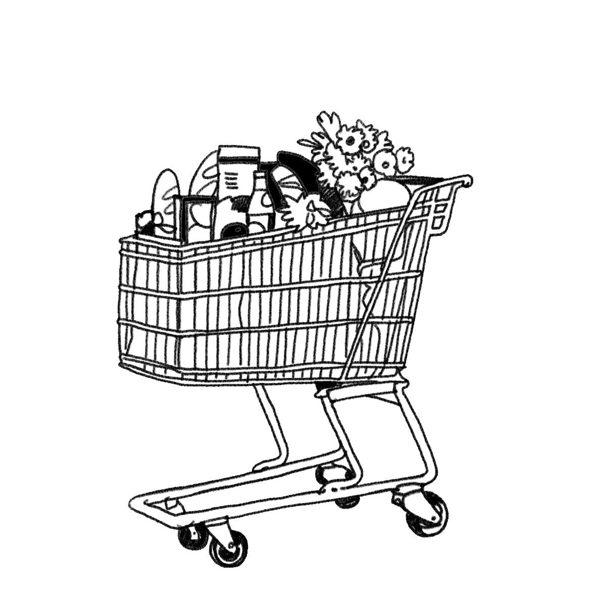 Shopping cart drawing sketch coloring page for Grocery shopping coloring pages